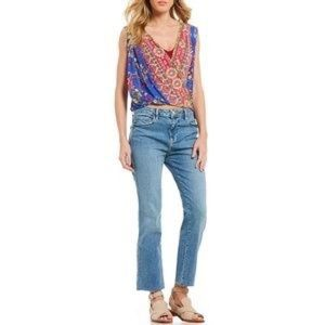 Free People high waisted girlfriend raw hem jeans